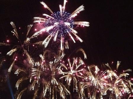 hanabi: Fireworks in Japan during summer festival. Stock Photo
