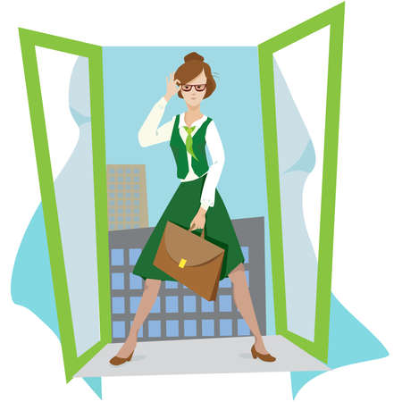 businesswoman or teacher in open  window with briefcase