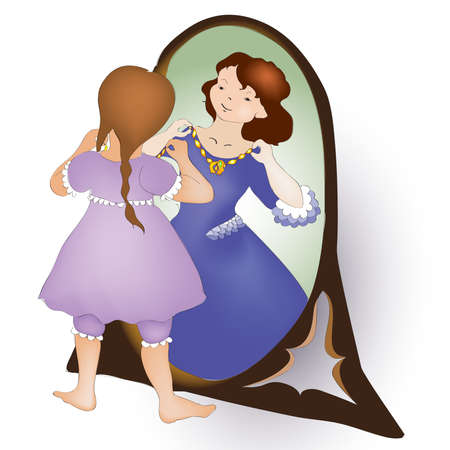 innocent girl: illustration of cute girl looking at the mirror and see princess