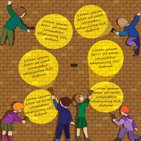 Quest Infographic, children with flashlights and the brick wall Illustration