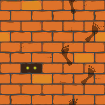 mystique: seamless vector pattern,  wall from bricks with footprints