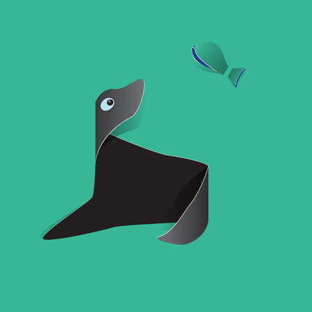 sea lion: Sea lion of the white and yellow paper on green background Illustration