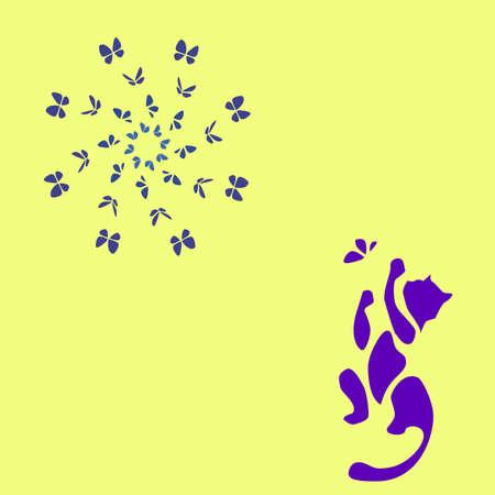 gato jugando: gato azul que juega con la ilustración de la mariposa
