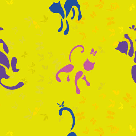 cats playing: seamless pattern with cats playing and  catching butterfly