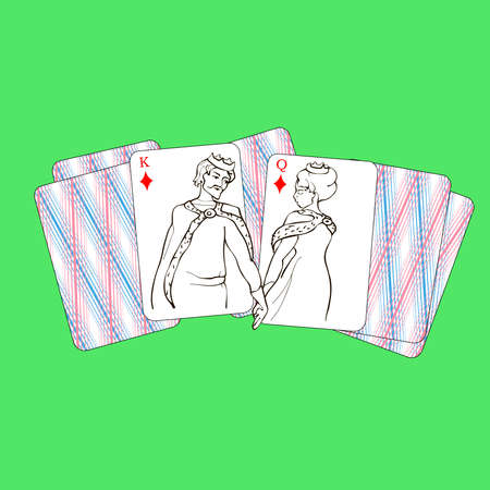 The king of diamonds and queen holding hands