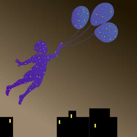 dark sky: silhouette of a flying boy who lit the stars in the dark sky