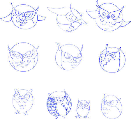 imitation: Set of stylized owls, imitation drawing pen Illustration