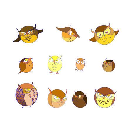 set of eleven circle color cute  owls