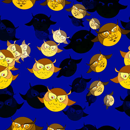 nightly: Seamless pattern with cute owls. Stylish graphic design