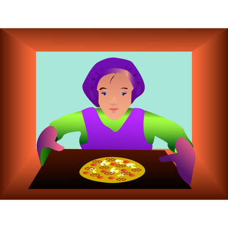 attentiveness: Baker takes the pizza from the oven
