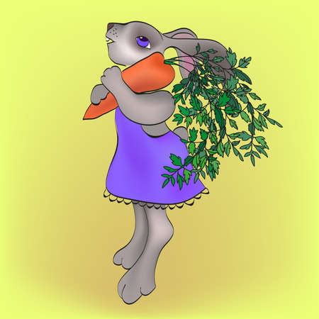 chew: Cheerful cute rabbit with the carrot. Illustration
