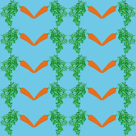 chew: Cartoon carrots  seamless  pattern on cyan background