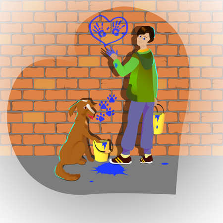 draw hands: Boy and dog draw hands and feet painted on a brick wall illustranion