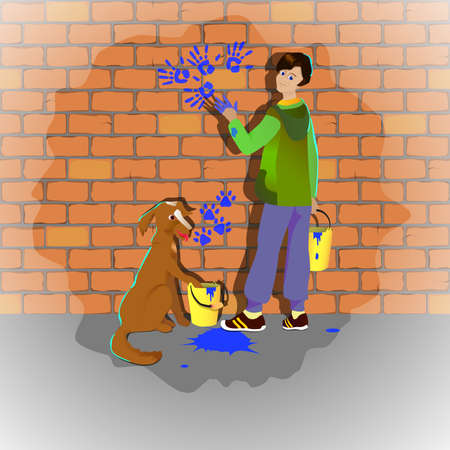 cheeky: Boy and dog draw hands and feet painted on a brick wall illustranion