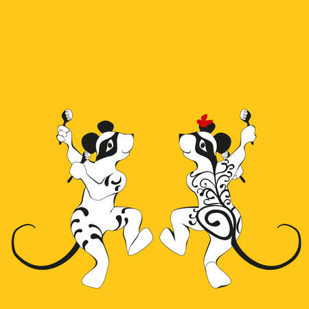 tattooed: Mouse, tattooed dancing with maracas Doubles drawing - a silhouette of the front and rear