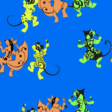 tattooed: Squirrel, mouse, wombat, tattooed dancing with maracas seamless pattern