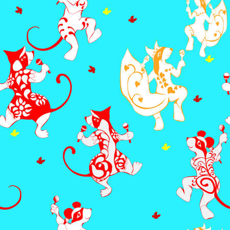 Squirrel, mouse, wombat, tattooed dancing with maracas seamless pattern