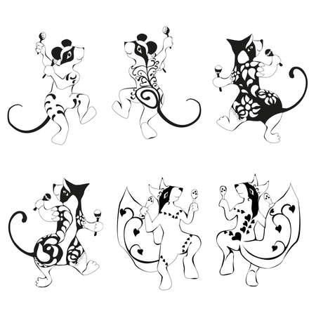 Ardilla, ratón, baile wombat tatuado con el conjunto maracas