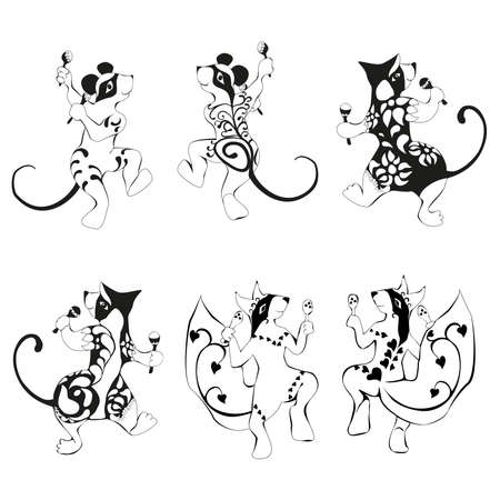 rhythms: Squirrel, mouse, wombat tattooed dancing with maracas Set Illustration