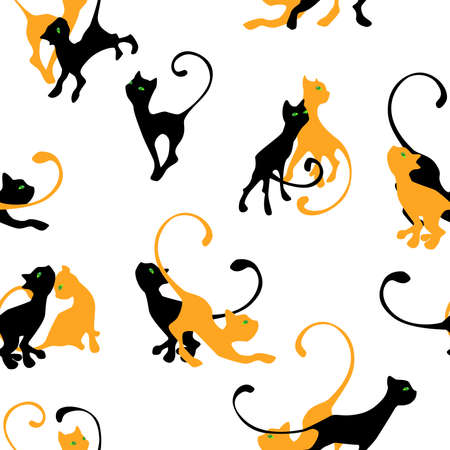 clumsy: pattern with couple of kitten silhouette on white background Illustration