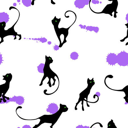 clumsy: pattern with kitten silhouette on blots background Illustration