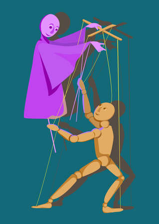 interdependent: puppet on a stick and a puppet control each other, illustration Illustration