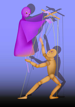 puppet on a stick and a puppet control each other, illustration Illustration