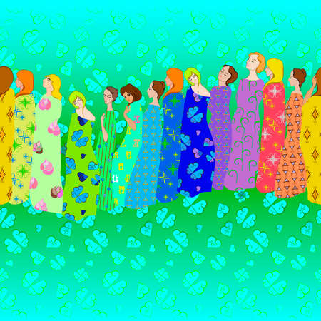 drapes: Girls Draped patterned fabrics border and seamless pattern in rainbow colors Illustration