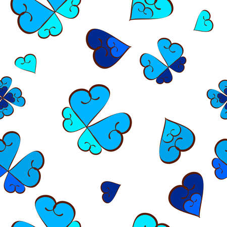 Seamless pattern with hearts and butterflies. blue and white Illustration