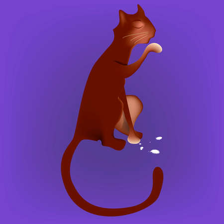 cunning: Brown cat licking milk from the paw illustration