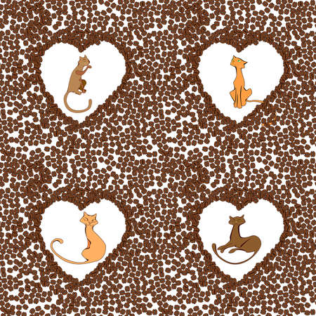 purring: Cute cats in the hearts of the coffee beans illustration
