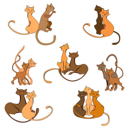 pairs: colored cartoon cat in different pairs set Illustration