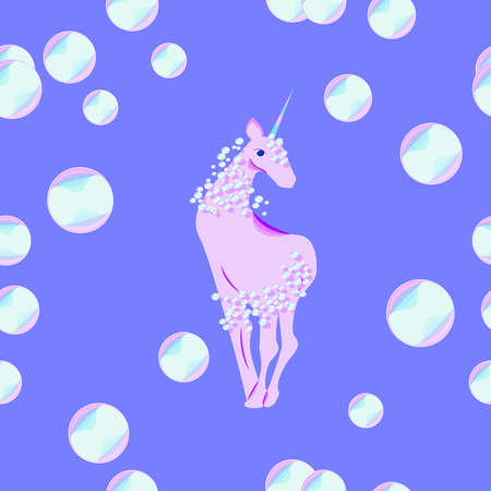 yoke: unicorn with the mane and tail of bubbles illustration Illustration