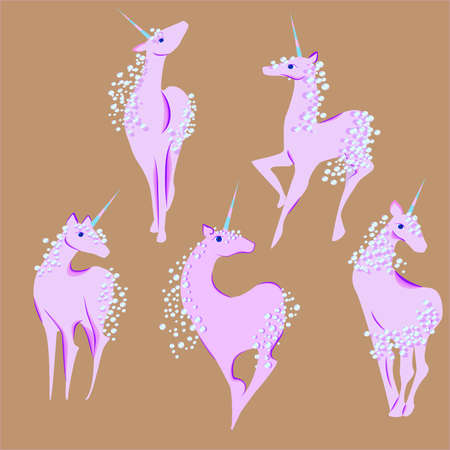 unicorn with the mane and tail of bubbles set Illustration