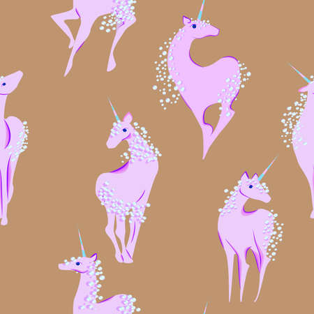 yoke: unicorn with the mane and tail of bubbles seamless pattern Illustration