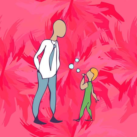 psicologia infantil: niño y el padre en la tienda, Illlustration