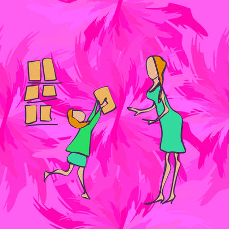 psicologia infantil: child and parent in the store, illlustration