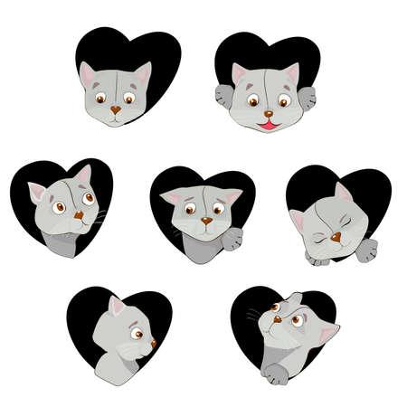 Seven cute feline muzzles in cartoon style set Illustration