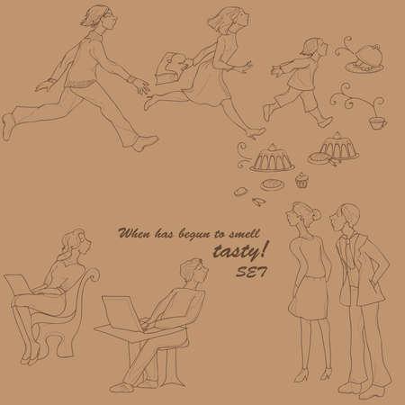 lunch break: Smell something tasty. set of people in lunch break Illustration