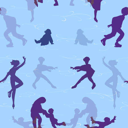 skaters: Seamless pattern with silhouettes of skaters Illustration