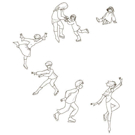 skaters: set of six of graphic shapes skaters Illustration