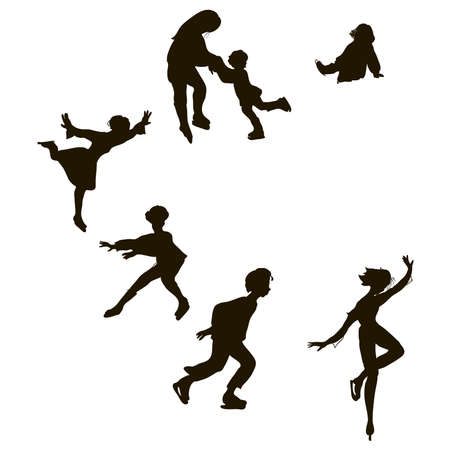 skaters: set of silhouettes of graphic shapes skaters Illustration