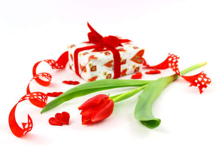 Composition with tulips and gift box, valentine s or mother s day photo