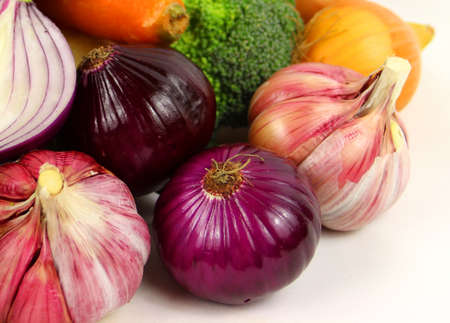 Colourful vegetables on the white background