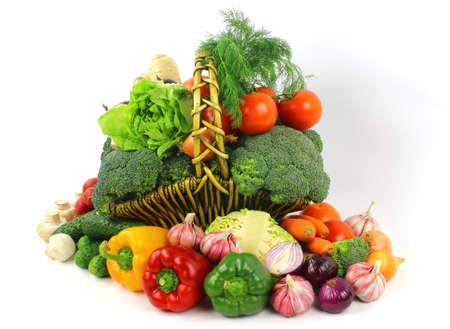 Fresh vegetables - composition on the white background