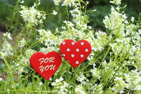 Red hearts on a background of spring flowers