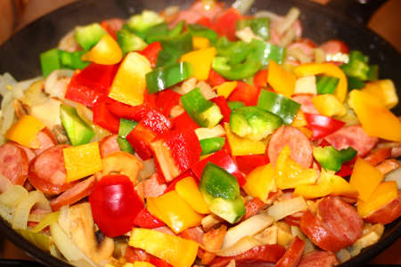 Hungarian cuisine - letcho dish on the frying pan