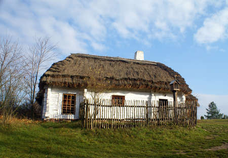 An old rural cottage with a large roof in the open-air museum