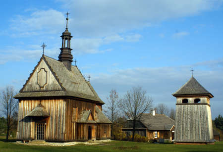 Old wooden historical church with a bell tower