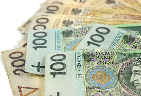 Polish banknotes 100 and 200 PLN Polish Zloty on white background